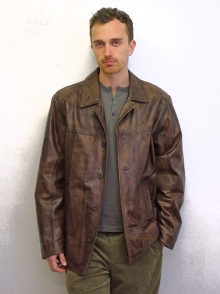 Higgs Leathers FEW ONLY!  Mitch (men's long Brown Leather jackets)